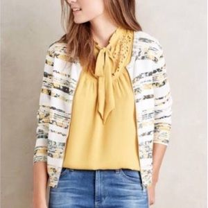 Anthropologie Floral Zip Jacket Sweater